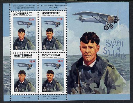 Montserrat 1998 Famous People of the 20th Century - Charles Lindbergh (aviator) perf sheetlet containing 4 vals unmounted mint as SG 1074a