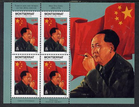 Montserrat 1998 Famous People of the 20th Century - Mao Tse-tung (China) perf sheetlet containing 4 vals unmounted mint as SG 1075a
