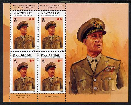 Montserrat 1998 Famous People of the 20th Century - Earl Mountbatten perf sheetlet containing 4 vals unmounted mint as SG 1076a