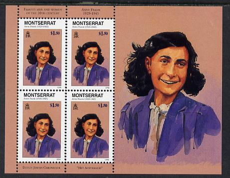 Montserrat 1998 Famous People of the 20th Century - Anne Frank (Holocaust) perf sheetlet containing 4 vals unmounted mint as SG 1078a