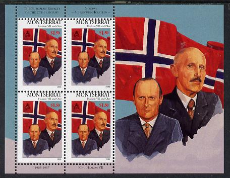 Montserrat 1998 Famous People of the 20th Century - King Haakon VII & Prince Olav of Norway perf sheetlet containing 4 vals unmounted mint as SG 1082a