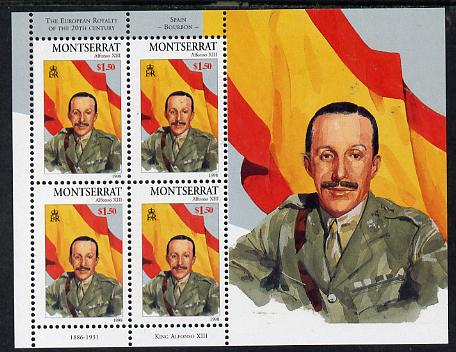 Montserrat 1998 Famous People of the 20th Century - King Alfonso of Spain perf sheetlet containing 4 vals unmounted mint as SG 1083a