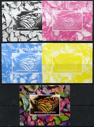 Congo 2013 Butterflies #1 deluxe sheet - the set of 5 imperf progressive colour proofs comprising the 4 basic colours plus all 4-colour composite unmounted mint