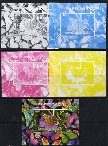 Congo 2013 Butterflies #2 deluxe sheet - the set of 5 imperf progressive colour proofs comprising the 4 basic colours plus all 4-colour composite unmounted mint