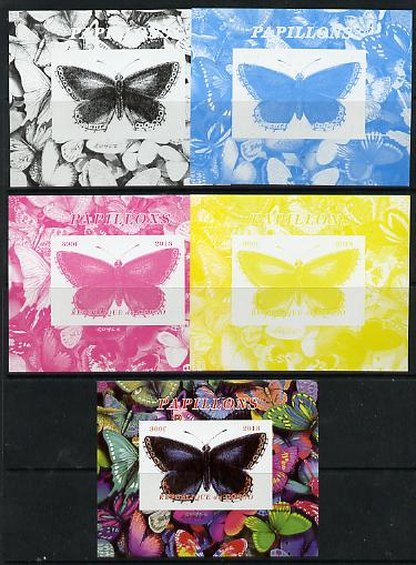 Congo 2013 Butterflies #4 deluxe sheet - the set of 5 imperf progressive colour proofs comprising the 4 basic colours plus all 4-colour composite unmounted mint