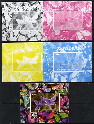 Congo 2013 Butterflies #5 deluxe sheet - the set of 5 imperf progressive colour proofs comprising the 4 basic colours plus all 4-colour composite unmounted mint