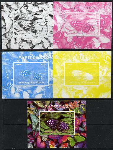 Congo 2013 Butterflies #6 deluxe sheet - the set of 5 imperf progressive colour proofs comprising the 4 basic colours plus all 4-colour composite unmounted mint