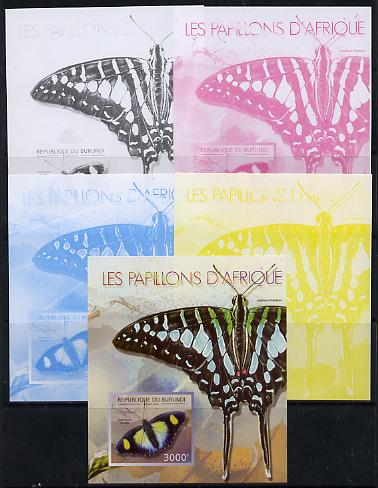 Burundi 2013 Butterflies #2 deluxe sheet - the set of 5 imperf progressive colour proofs comprising the 4 basic colours plus all 4-colour composite unmounted mint