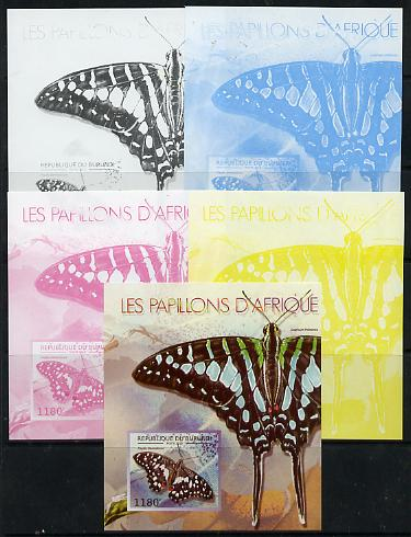 Burundi 2013 Butterflies #3 deluxe sheet - the set of 5 imperf progressive colour proofs comprising the 4 basic colours plus all 4-colour composite unmounted mint