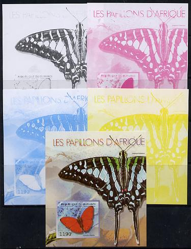 Burundi 2013 Butterflies #4 deluxe sheet - the set of 5 imperf progressive colour proofs comprising the 4 basic colours plus all 4-colour composite unmounted mint