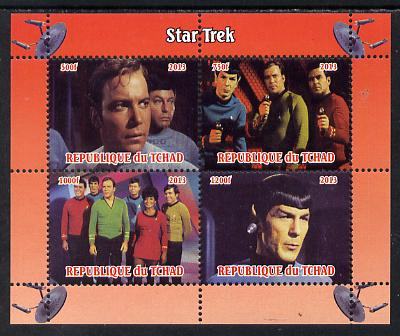 Chad 2013 Star Trek #1 perf sheetlet containing 4 vals unmounted mint. Note this item is privately produced and is offered purely on its thematic appeal, it has no postal...