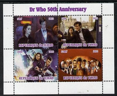 Chad 2013 Dr Who 50th Anniversary perf sheetlet containing 4 vals unmounted mint. Note this item is privately produced and is offered purely on its thematic appeal.