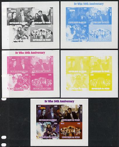 Chad 2013 Dr Who 50th Anniversary sheetlet containing 4 vals - the set of 5 imperf progressive colour proofs comprising the 4 basic colours plus all 4-colour composite unmounted mint
