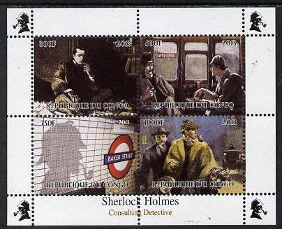 Congo 2013 Sherlock Holmes #1 perf sheetlet containing 4 vals unmounted mint