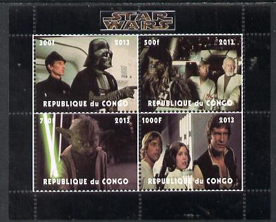 Congo 2013 Star Wars #2 perf sheetlet containing 4 vals unmounted mint. Note this item is privately produced and is offered purely on its thematic appeal