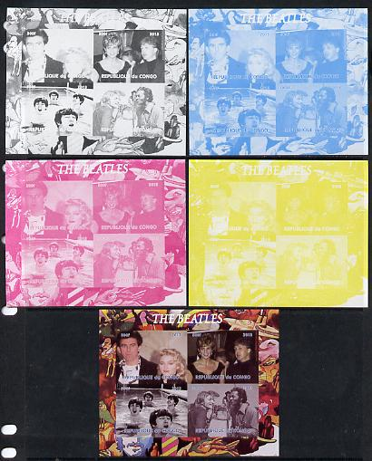 Congo 2013 The Beatles #1 sheetlet containing 4 vals - the set of 5 imperf progressive colour proofs comprising the 4 basic colours plus all 4-colour composite unmounted mint