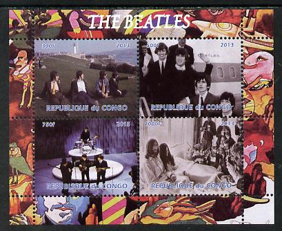 Congo 2013 The Beatles #2 perf sheetlet containing 4 vals unmounted mint. Note this item is privately produced and is offered purely on its thematic appeal, it has no postal validity