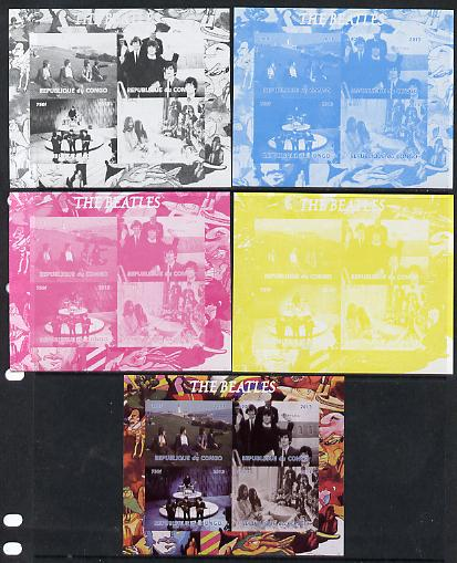 Congo 2013 The Beatles #2 sheetlet containing 4 vals - the set of 5 imperf progressive colour proofs comprising the 4 basic colours plus all 4-colour composite unmounted mint