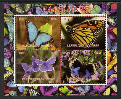 Congo 2013 Butterflies #1 perf sheetlet containing 4 vals unmounted mint. Note this item is privately produced and is offered purely on its thematic appeal