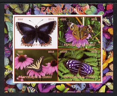 Congo 2013 Butterflies #2 imperf sheetlet containing 4 vals unmounted mint. Note this item is privately produced and is offered purely on its thematic appeal
