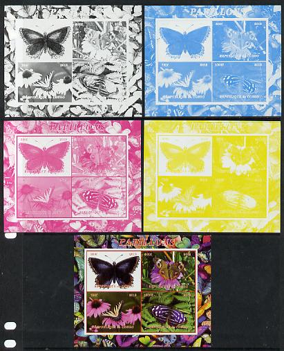 Congo 2013 Butterflies #2 sheetlet containing 4 vals - the set of 5 imperf progressive colour proofs comprising the 4 basic colours plus all 4-colour composite unmounted mint