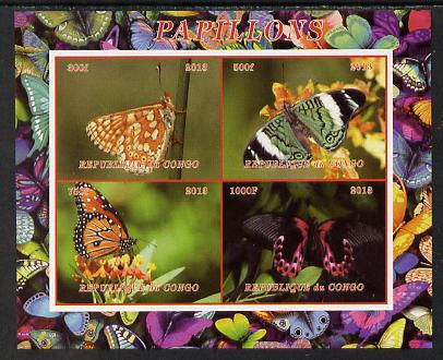 Congo 2013 Butterflies #3 imperf sheetlet containing 4 vals unmounted mint. Note this item is privately produced and is offered purely on its thematic appeal