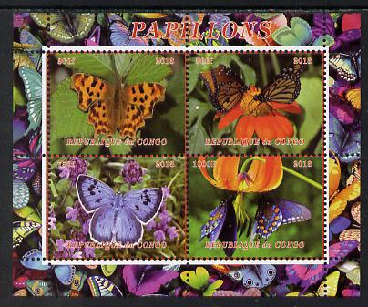 Congo 2013 Butterflies #4 perf sheetlet containing 4 vals unmounted mint. Note this item is privately produced and is offered purely on its thematic appeal
