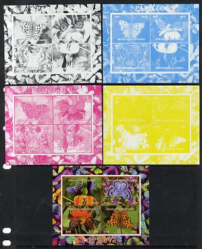 Congo 2013 Butterflies #4 sheetlet containing 4 vals - the set of 5 imperf progressive colour proofs comprising the 4 basic colours plus all 4-colour composite unmounted mint