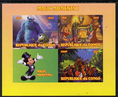 Congo 2013 Disney - Magic Moments #1 imperf sheetlet containing 3 values plus labels unmounted mint. Note this item is privately produced and is offered purely on its thematic appeal
