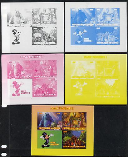 Congo 2013 Disney - Magic Moments #1 sheetlet containing 3 values plus  the set of 5 imperf progressive colour proofs comprising the 4 basic colours plus all 4-colour composite unmounted mint