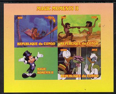 Congo 2013 Disney - Magic Moments #2 imperf sheetlet containing 3 values plus label unmounted mint. Note this item is privately produced and is offered purely on its thematic appeal