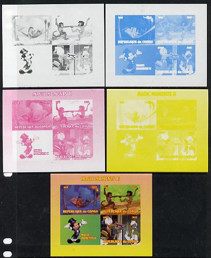 Congo 2013 Disney - Magic Moments #2 sheetlet containing 3 values plus  the set of 5 imperf progressive colour proofs comprising the 4 basic colours plus all 4-colour composite unmounted mint