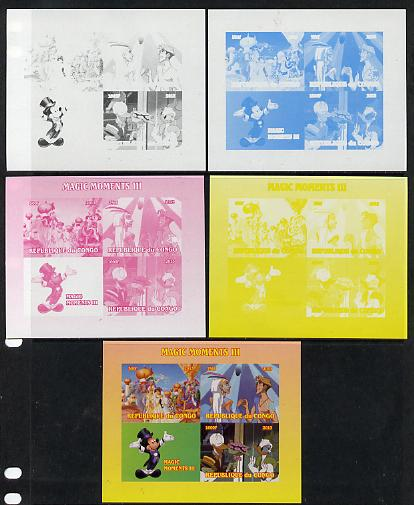 Congo 2013 Disney - Magic Moments #3 sheetlet containing 3 values plus  the set of 5 imperf progressive colour proofs comprising the 4 basic colours plus all 4-colour composite unmounted mint