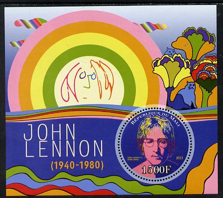 Mali 2013 John Lennon perf deluxe sheet containing one circular value unmounted mint