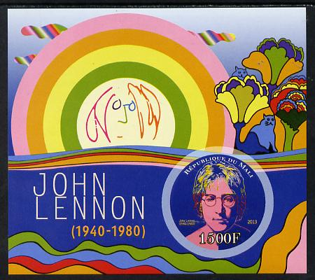 Mali 2013 John Lennon imperf deluxe sheet containing one circular value unmounted mint