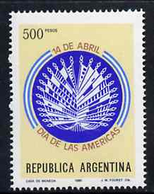 Argentine Republic 1980 Day of the Americas unmounted mint, SG 1670*