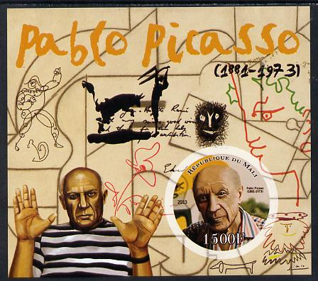 Mali 2013 Pablo Picasso imperf deluxe sheet containing one circular value unmounted mint