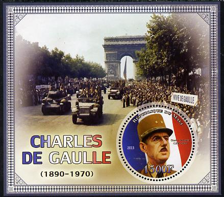 Mali 2013 Charles De Gaulle perf deluxe sheet containing one circular value unmounted mint