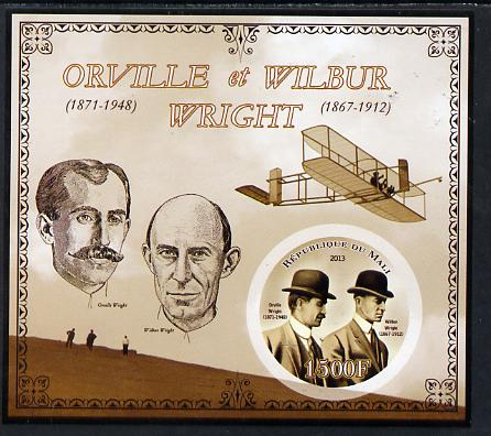 Mali 2013 Orville & Wilbur Wright imperf deluxe sheet containing one circular value unmounted mint