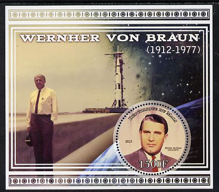 Mali 2013 Werner Von Braun perf deluxe sheet containing one circular value unmounted mint