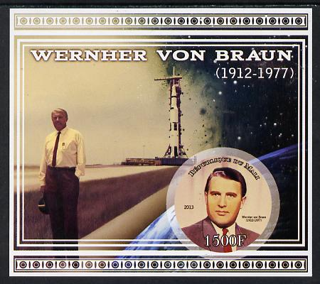 Mali 2013 Werner Von Braun imperf deluxe sheet containing one circular value unmounted mint