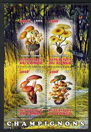 Congo 2013 Fungi #1 perf sheetlet containing four values unmounted mint