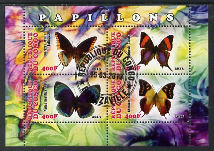 Congo 2013 Butterflies #1 perf sheetlet containing four values fine cto used