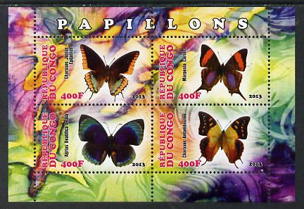 Congo 2013 Butterflies #1 perf sheetlet containing four values unmounted mint