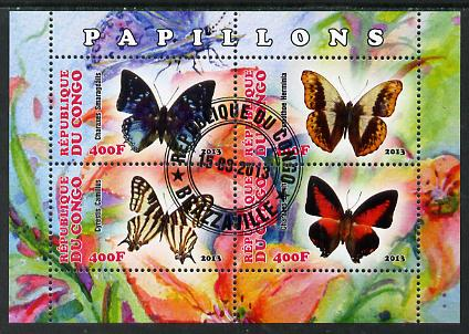 Congo 2013 Butterflies #2 perf sheetlet containing four values fine cto used