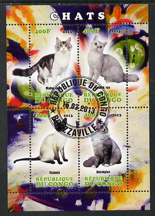 Congo 2013 Domestic Cats #1 perf sheetlet containing four values fine cto used