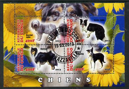 Congo 2013 Dogs #1 perf sheetlet containing four values fine cto used