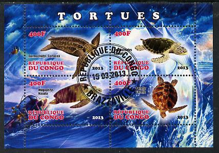 Congo 2013 Turtles perf sheetlet containing four values fine cto used