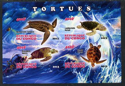 Congo 2013 Turtles imperf sheetlet containing four values unmounted mint