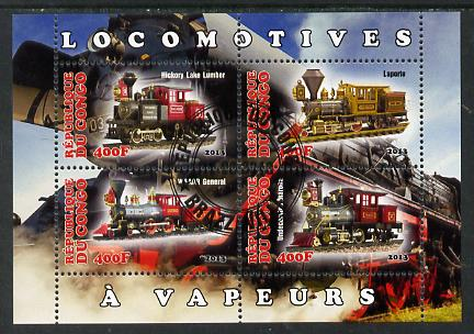 Congo 2013 Early Steam Locomotives perf sheetlet containing four values fine cto used